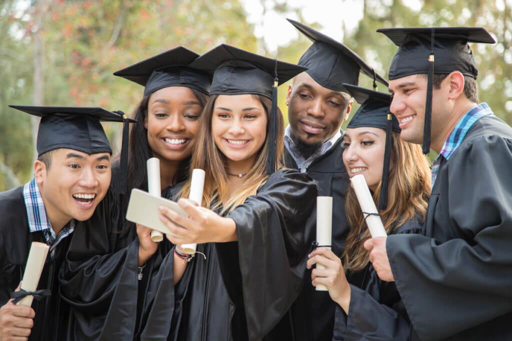 happy college graduates