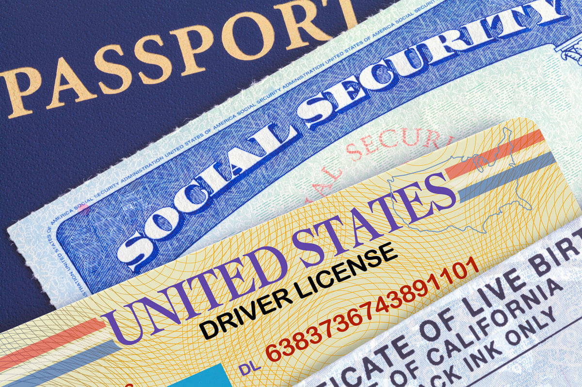 United States proof of ID, passport, social security, drivers license, birth certificate