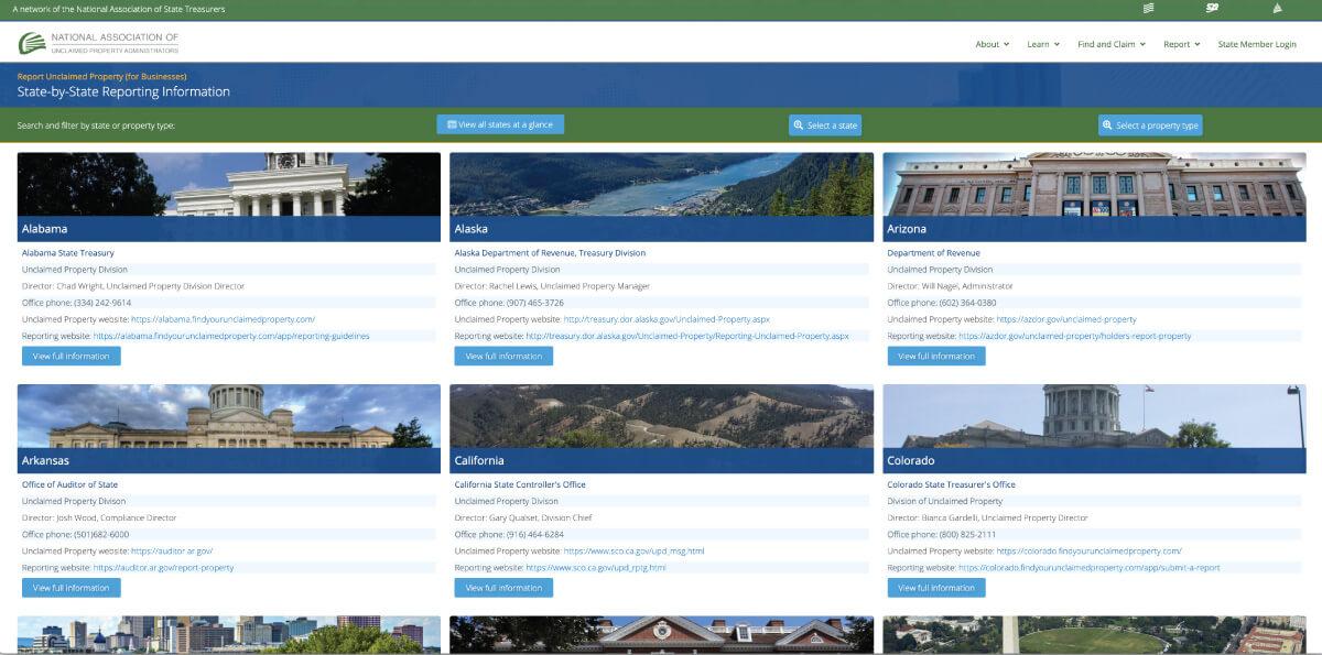 NAUPA reporting webpage